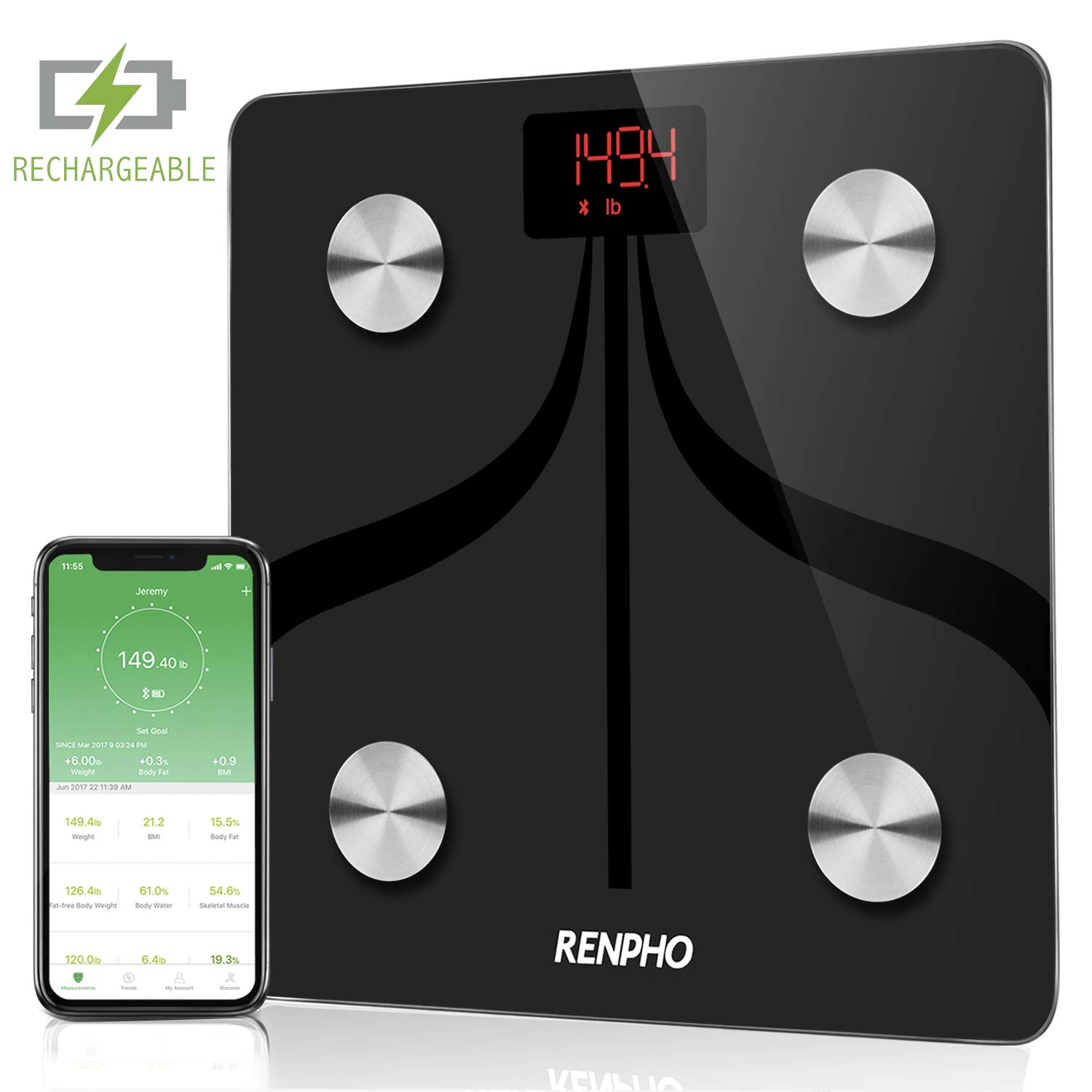 RENPHO USB Chargeable Bluetooth Body Fat Scale Smart Digital Bathroom Scale with Smartphone App, Body Composition Monitor for Body Fat, BMI, Bone Mass, Weight, 396 lbs Black by RENPHO