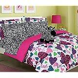 Girls Kids Bedding -MISTY ZEBRA- Bed in a Bag Comforter Set - Twin