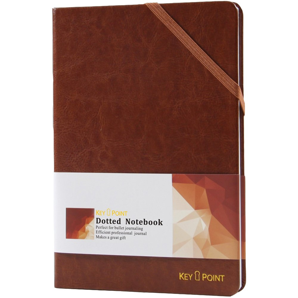 Premium Hardcover Notebook ~Excellent Dotted Notebook~ Bullet Journal for Men & Women, Leather, Quality A5 Sewn-in 100gsm Paper with Diagonal Strap