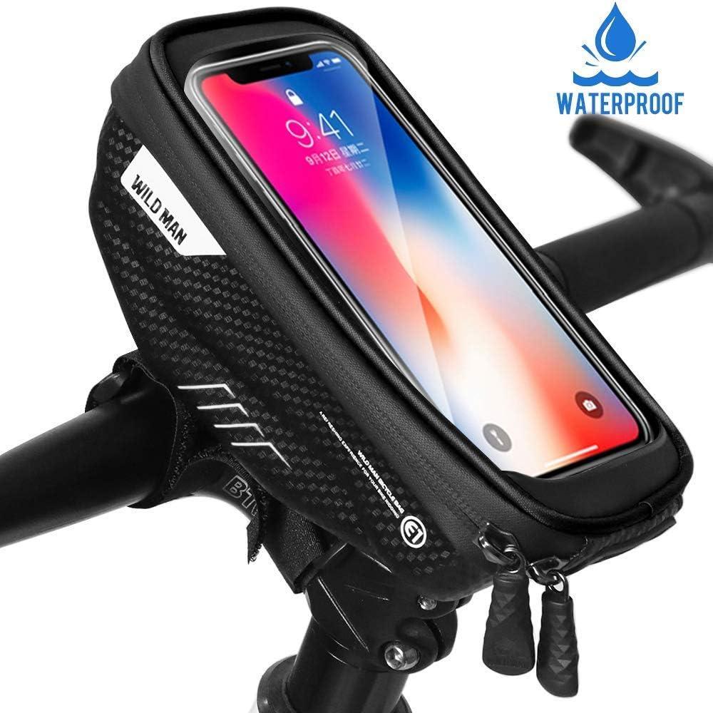 WILDMAN Bike Waterproof Front Tube Cycling Bag 6.5 Touch Screen Phone Case