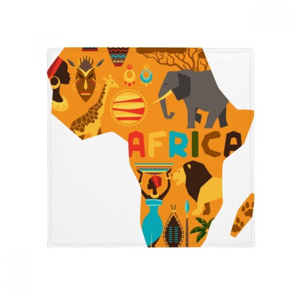 DIYthinker Africa Map Elephant African Savanna Illustration Anti-Slip Floor Pet Mat Square Home Kitchen Door 80Cm Gift