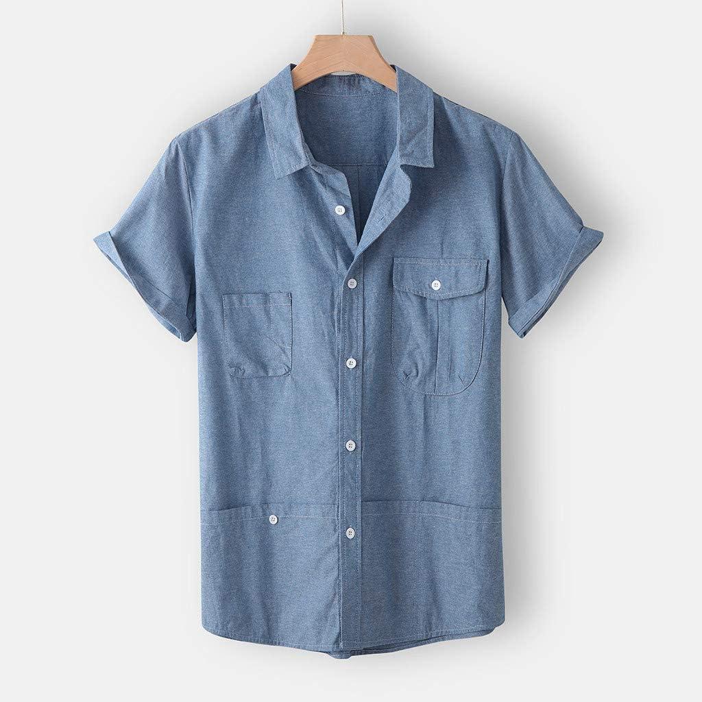 SoonerQuicker Camisa de Hombre Blusa Superior de Manga Corta de Color Puro con Bolsillo de Solapa de Moda para Hombre de Verano: Amazon.es: Ropa y accesorios