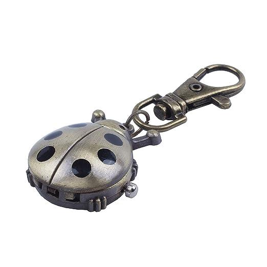 SODIAL(R) Reloj de Llavero de Metal de Tono Bronce con ...