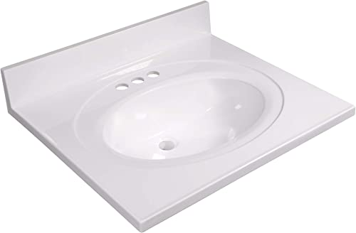 Design House 586222 Cultured Marble 25-inch Vanity Top with Integrated Oval Bowl, Reinforced Packaging, Solid White