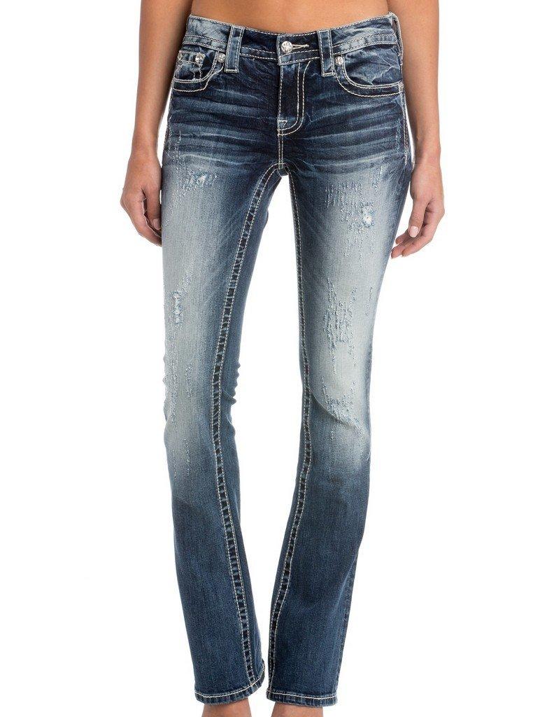 Miss Me Denim Jeans Womens Bootcut Distressed Cross 30 Dark M3099SB