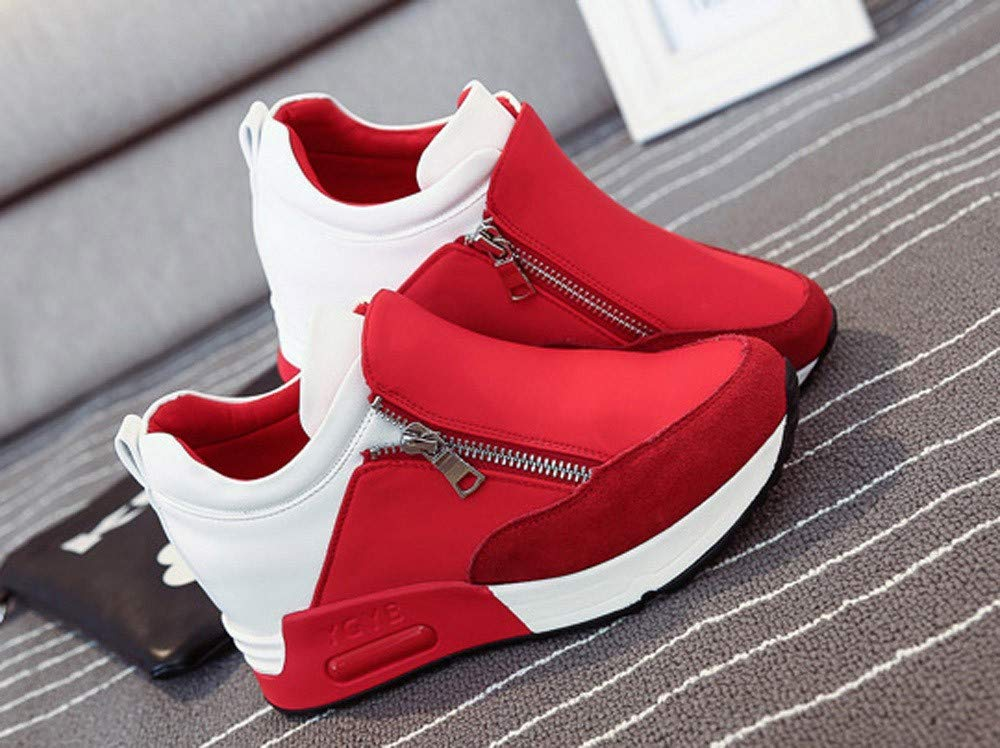 Women's Fashion Solid Color Round Head Breathable Sports Shoes Sports Running Climbing Platform Shoes Red by Lloopyting (Image #4)