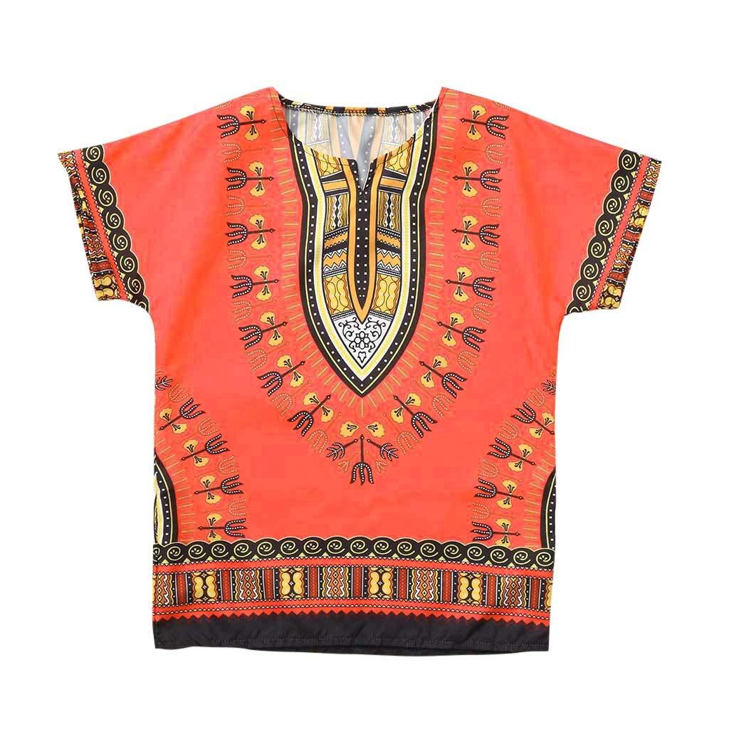 squarex  Baby Tops Boy Girl Unisex Bright African Colour Child Dashiki T Shirt Tee Tops