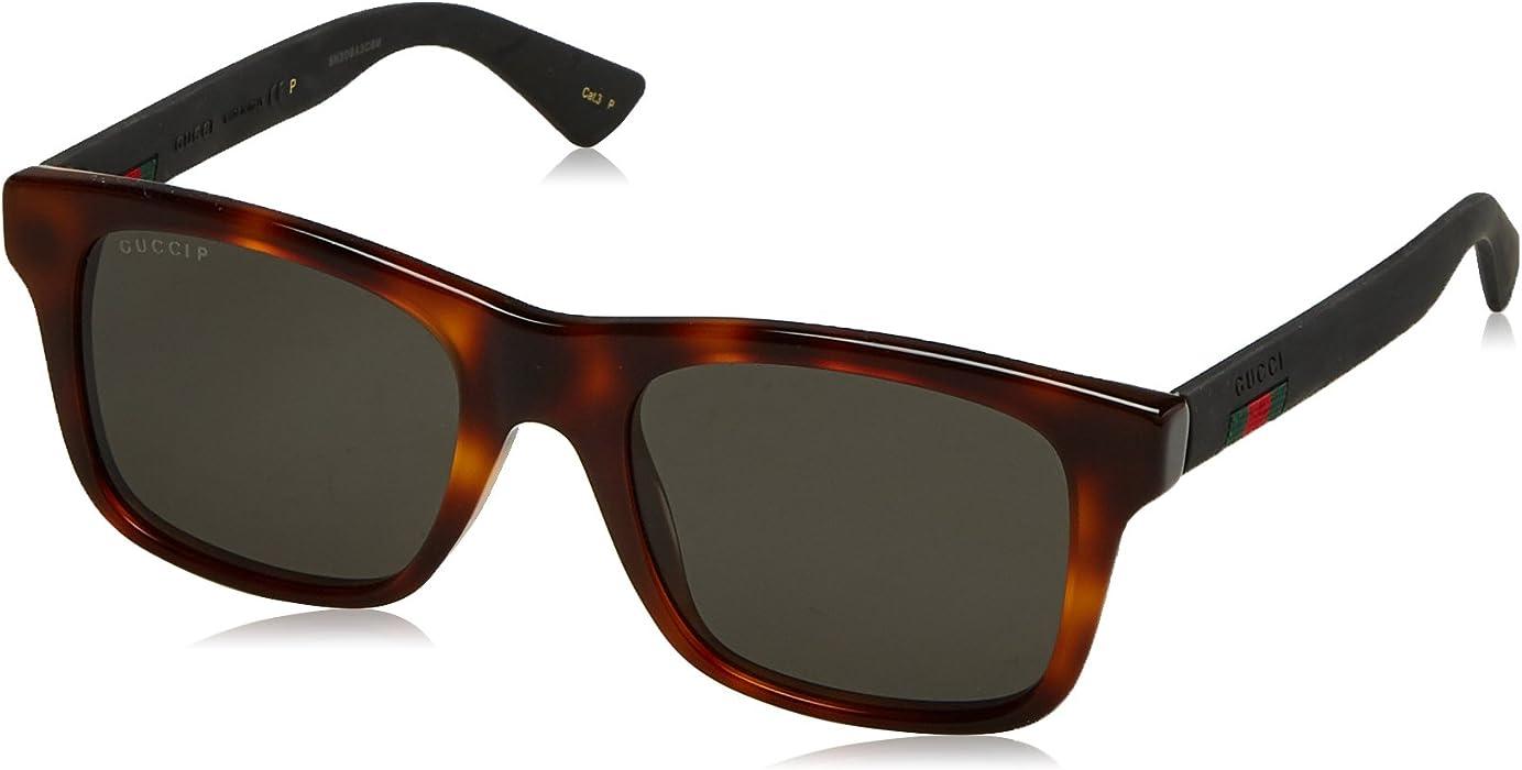 41747657df Amazon.com  Gucci GG 0008S 006 Havana Plastic Square Sunglasses Grey ...