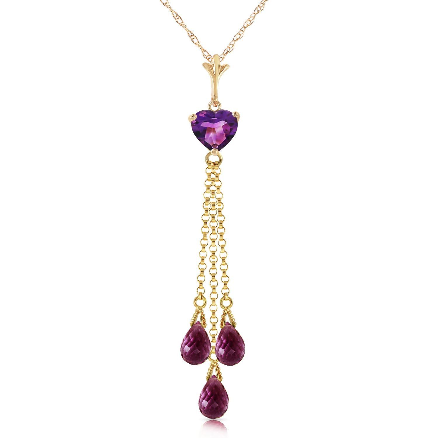 ALARRI 4.75 CTW 14K Solid Gold Always Love Amethyst Necklace with 22 Inch Chain Length