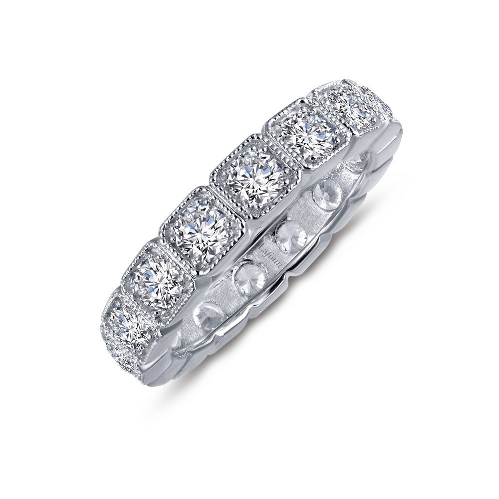Lafonn Classic Sterling Silver Platinum Plated Lassire Simulated Diamond Ring (2.08 CTTW)