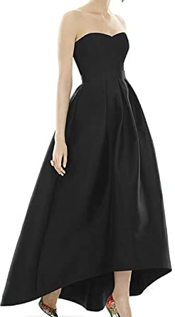 Diandiai Black Prom Dress 2018 Plus Size Hi Lo Evening Gown Black 2