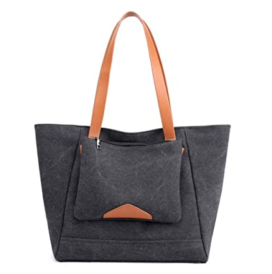 43db1fb65bfc5 Women's Canvas Shoulder Bag Large Capacity Handbag Tote Bag Casual Shopping  Bag with Small Purse Hobo