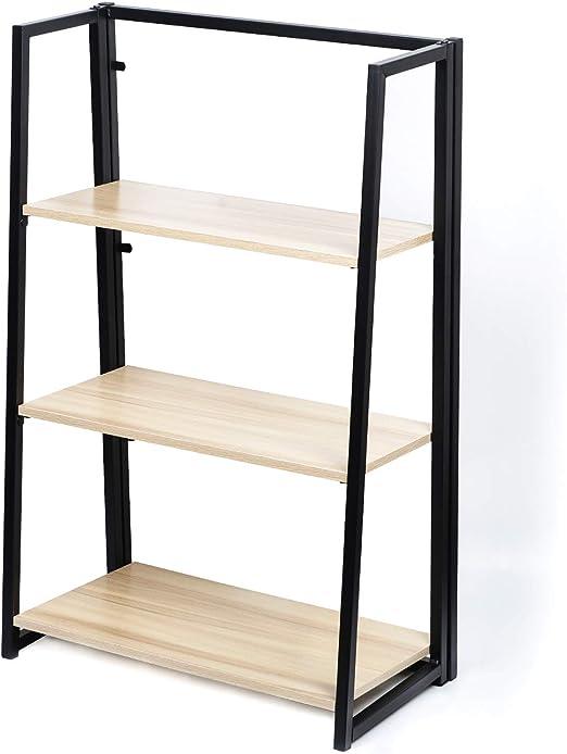 Estantería plegable de 3 niveles, estante de escalera portátil, no requiere montaje, soporte industrial, organizador resistente para el hogar y la oficina: Amazon.es: Hogar