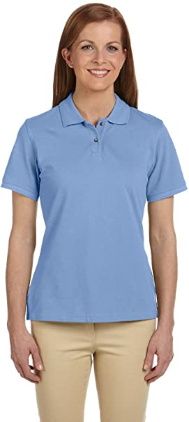 d3a684e10 Image Unavailable. Image not available for. Color: Harriton Ladies Ringspun  Cotton Pique Short-Sleeve Polo Shirt. M200W XL Light Col Blue