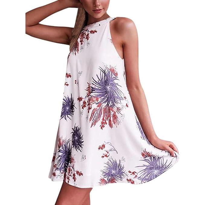 35b550a9bdf6a8 ongra Damen Sommer Kleider Tunikakleid Ärmellos Neckholderkleid Strandkleid  Minikleid Partykleid Rundkragen Retro Blumendrucken Kleider Frauen  Trägerkleid