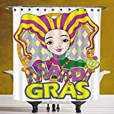 Stylish Shower Curtain 3.0 by SCOCICI [ Mardi Gras,Carnival Girl in Harlequin Costume and Hat Cartoon Fat Tuesday Theme,Yellow Purple Green ] Digital Print Polyester Fabric Bathroom Set