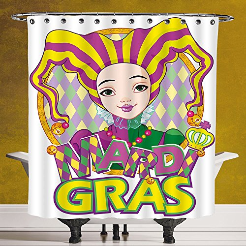 Stylish Shower Curtain 3.0 by SCOCICI [ Mardi Gras,Carnival Girl in Harlequin Costume and Hat Cartoon Fat Tuesday Theme,Yellow Purple Green ] Digital Print Polyester Fabric Bathroom Set by SCOCICI