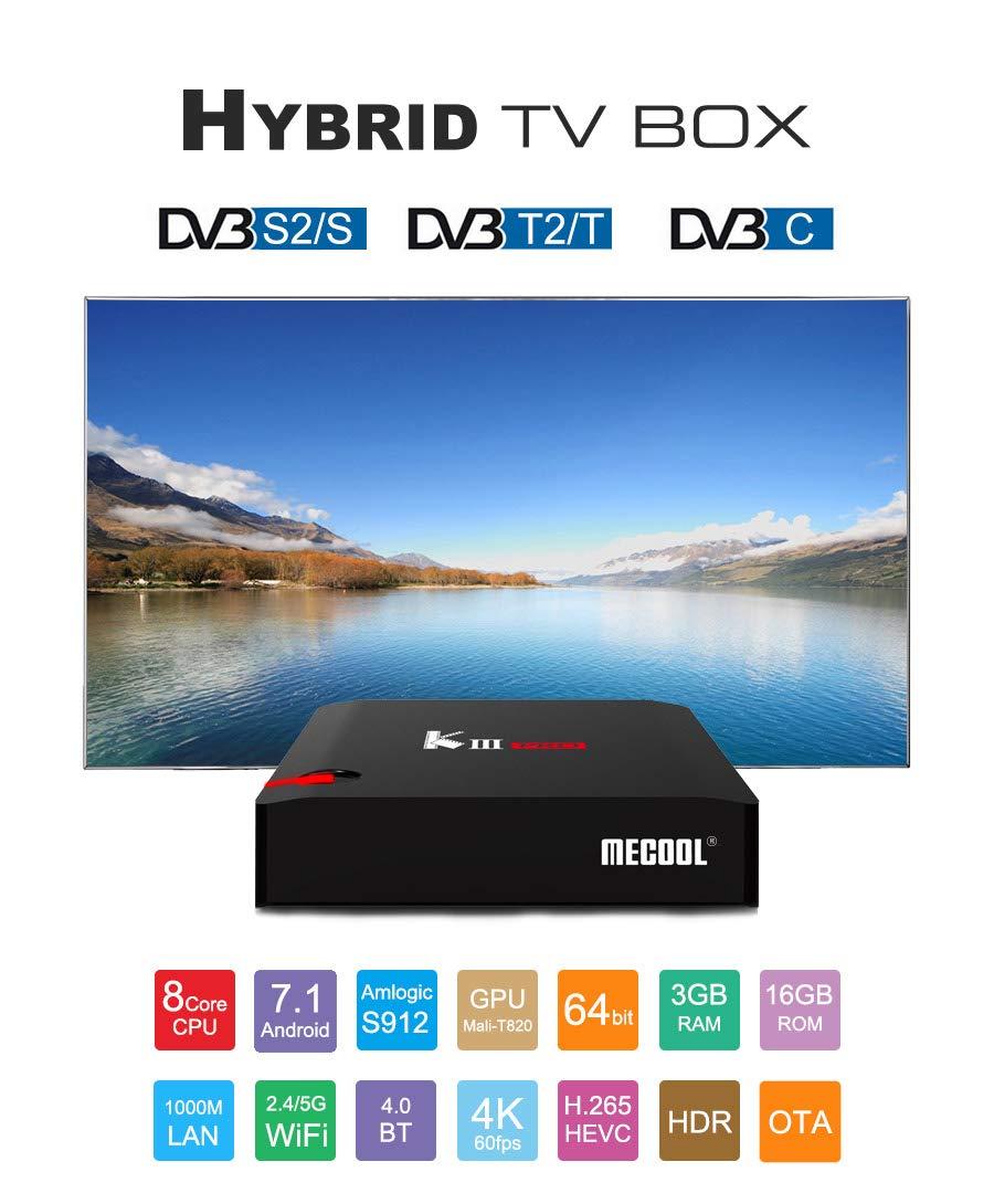 S2 Alician Electronic for MECOOL K7 DVB-T2 C Android 9.0 TV Box Amlogic S905X2 Quad Core 4K 2.4G 5G WiFi 1000Mbps Set Black U.S regulations