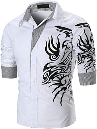 HhGold Camisas para Hombre Personalizadas Camiseta de Manga Larga Casual Slim Fit Patrón 3D Rojo Algodón Negro Botón V NecPolo Suéter Blusa XXL XXL XXXL (Color : Blanco, tamaño : X-Large): Amazon.es: