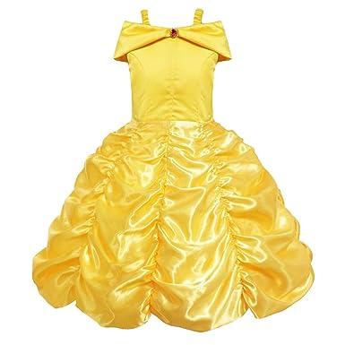 6d949bdc9eec5 Amazon.co.jp: ベル 風 キッズ コスプレ衣装 プリンセス 子供ドレス キッズ コスチューム 子供 美女と野獣イエロー ドレス   服&ファッション小物