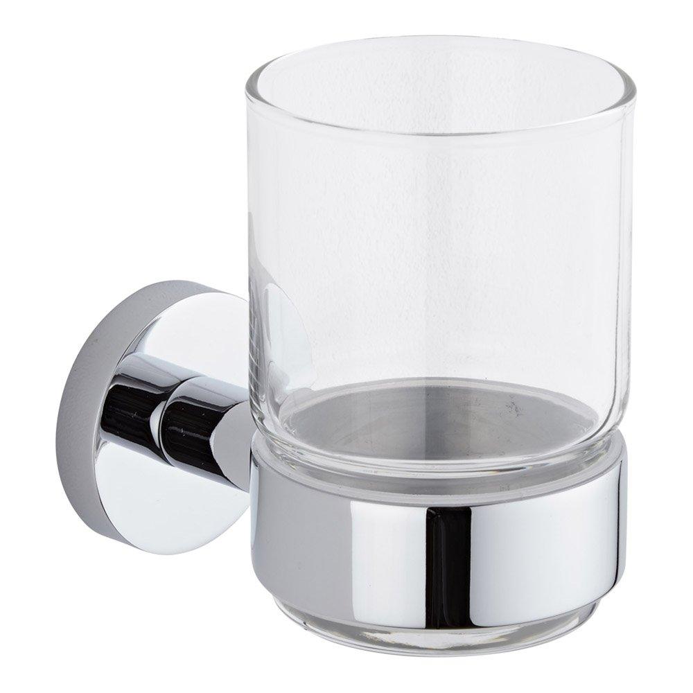Hudson Reed - Bicchiere Porta Spazzolino e Porta Bicchiere Murale in Vetro & Ottone Cromato (Design Classico)