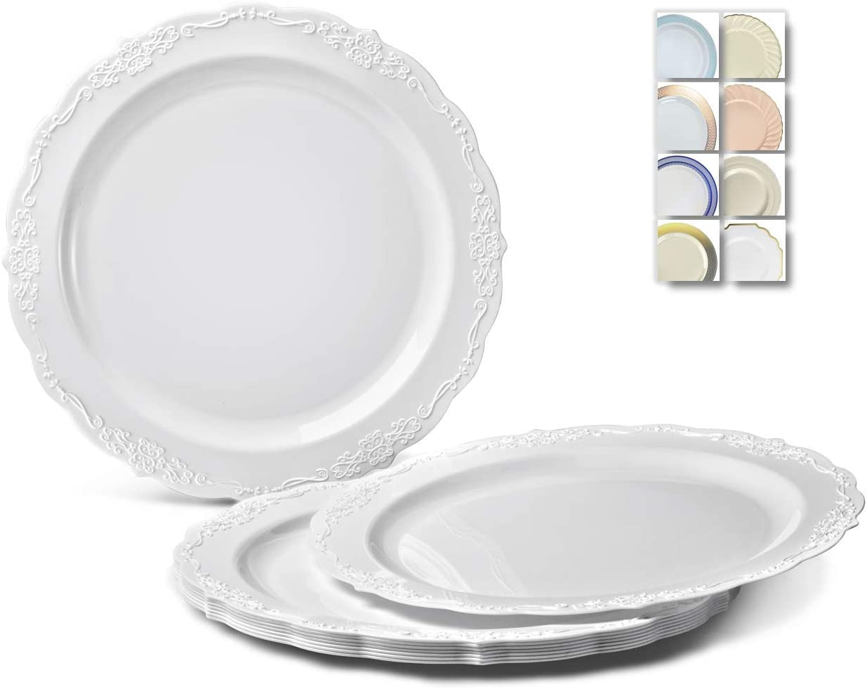OCCASIONS 120 Plates Pack, Disposable Wedding Party Plastic Plates (10'' Dinner Plate, Verona Plain White) 612DIiq7G-L