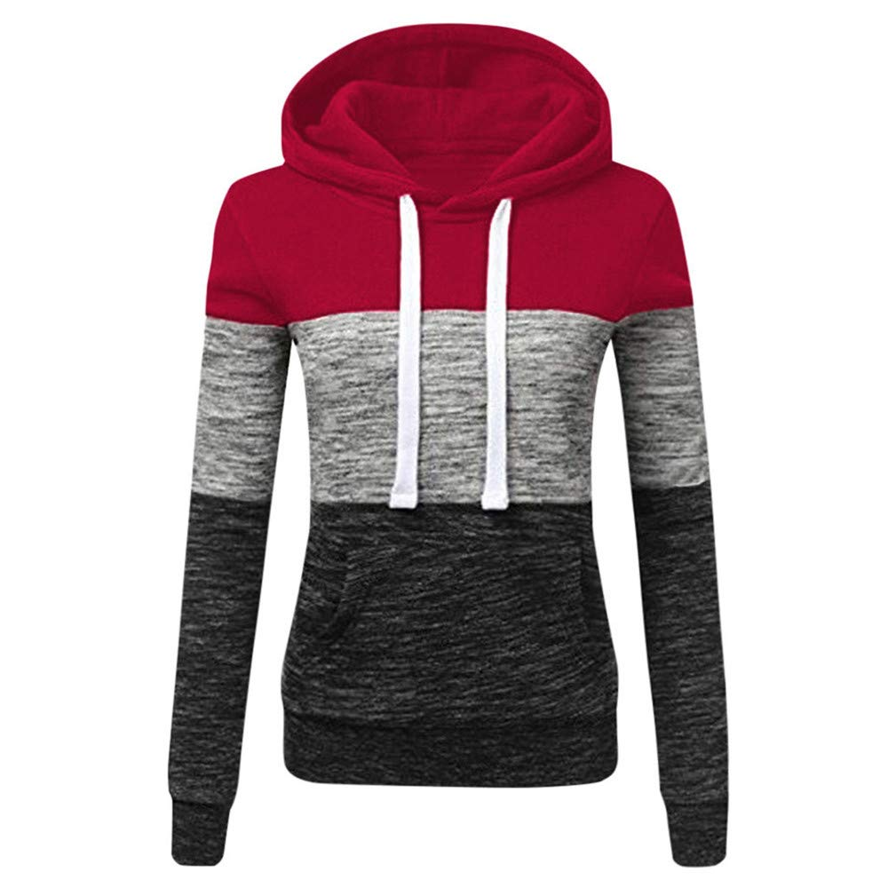 Oversize Hooded Sweatshirt Women Long Sleeve Autumn Spring Coat Patchwork Pocket Pullovers Hoodie,E,XL,United States