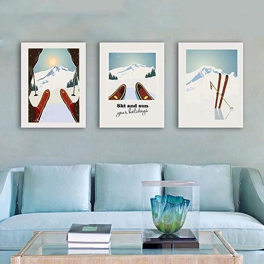 Deportes de invierno Esquí Arte Cartel de la Lona Pintura ...