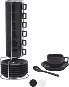Houseables Espresso Cup, Spoon & Saucer Set, Stackable Demitasse Cups with Metal Stand, 19 Pieces, 2.5 Ounce, Black, Porcelain, Tea Kit, Teacups, Turkish Coffee Mug, Organizer Rack, Dishwasher Safe
