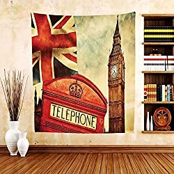 Gzhihine Custom tapestry London Tapestry Vintage Style Symbols of London with National Flag UK Great Britain Old Clock Tower for Bedroom Living Room Dorm Multicolor