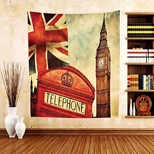 Gzhihine Custom tapestry London Tapestry Vintage Style Symbols of London with National Flag UK Great Britain Old Clock Tower for Bedroom Living Room Dorm - Eazy E Old