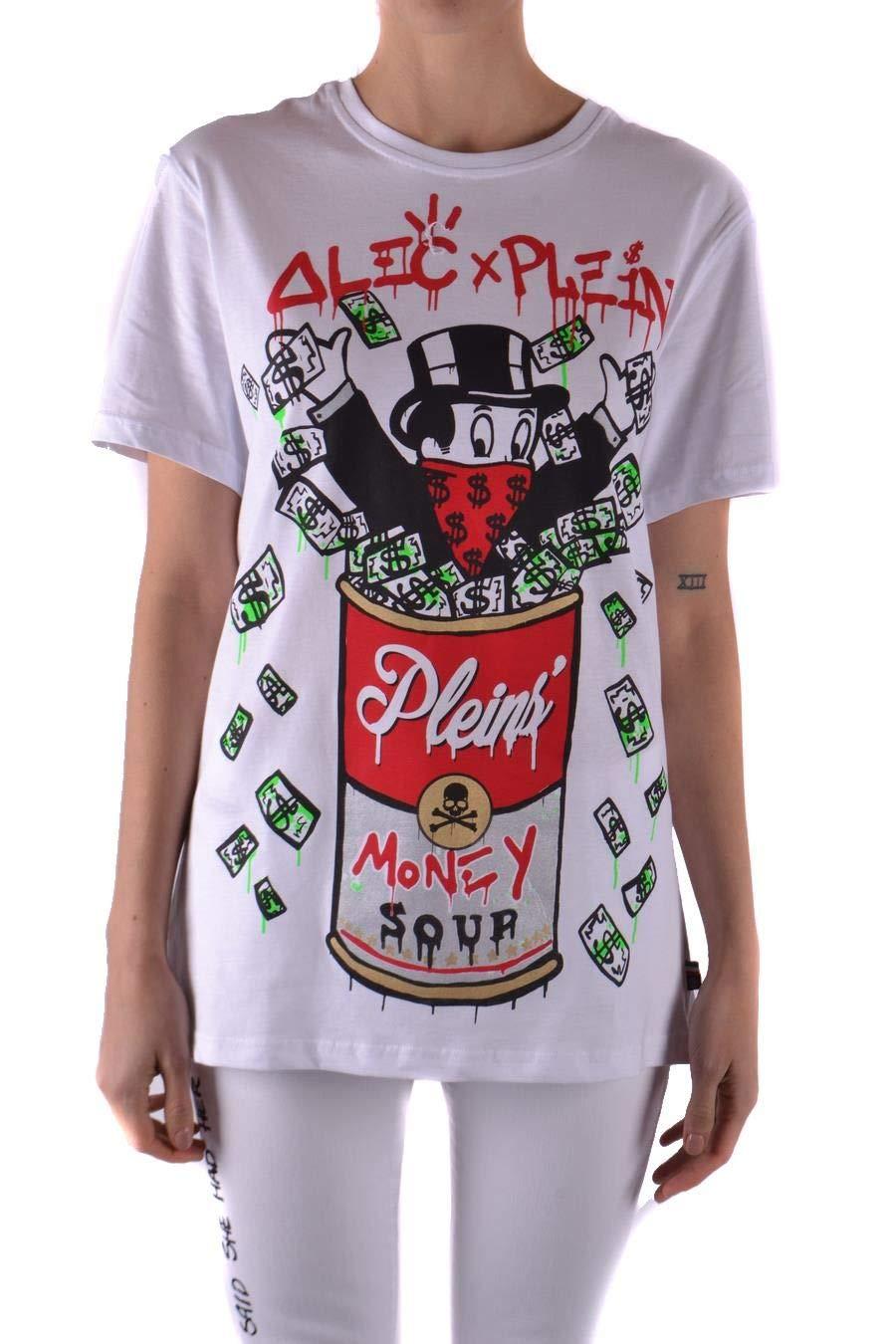 Brand Size S PHILIPP PLEIN Women's WTK0733PJY002N01 White Cotton TShirt