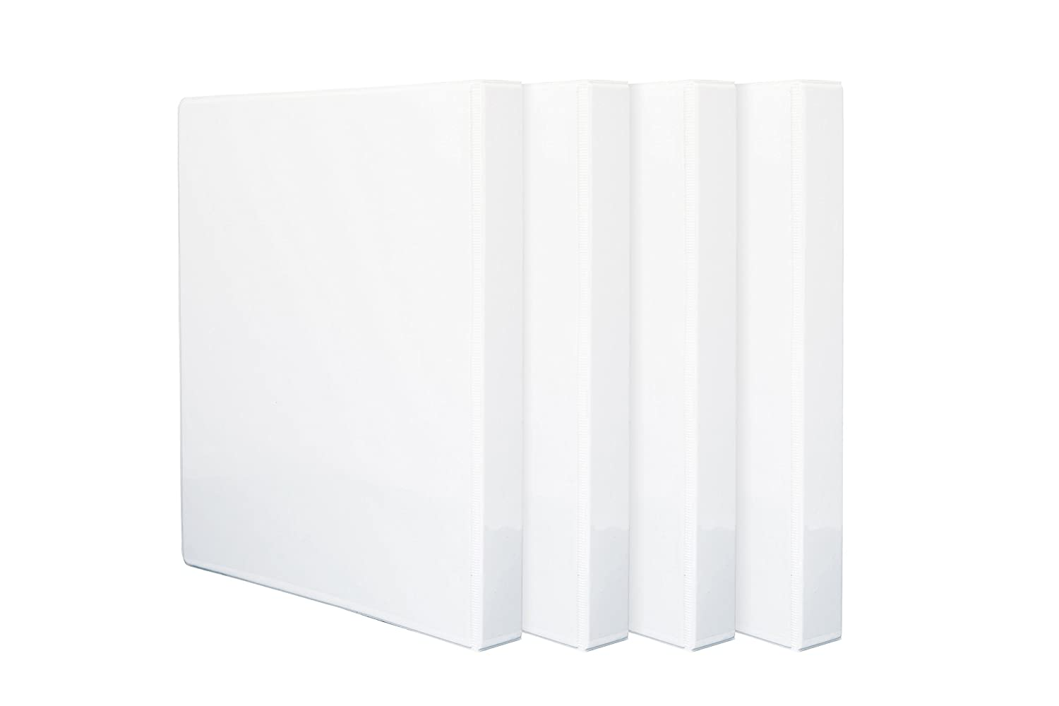 4 Pack 1'' 3-Ring Binders, Slant D Ring, Rugged Design for Home, Office, and School, Holds up to 225 Sheets of 8.5'' x 11'' Paper, White, 4 Binders