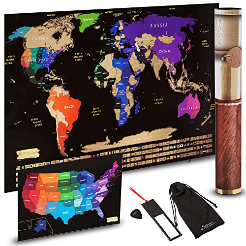 Scratch off World Map + Scratch off USA Map Travel Poster | US States And World Country Flags Detailed In Large 30