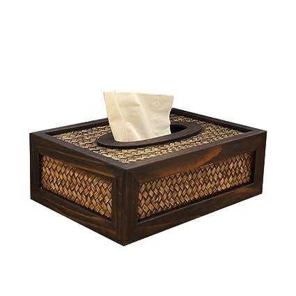 STOBOK Madera Caja Cuadrada para Pañuelos descartables – Rectangular Papel tisu Contenedor, Coche Oficina Hotel