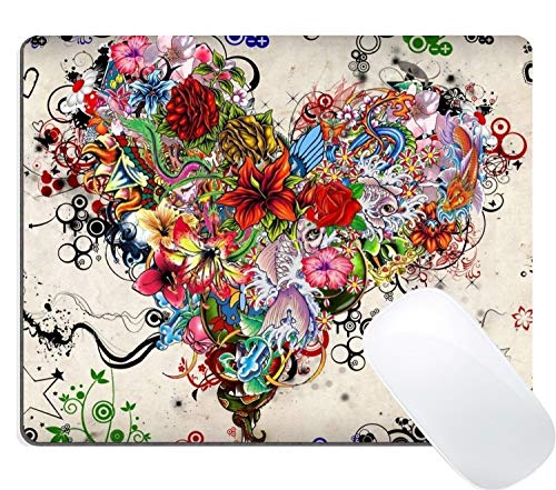 (Dr-Drin Gaming Mouse Pad Custom, Gorgeous Flower Tattoo Heart Shape Vintage Colored Floral Design Art)