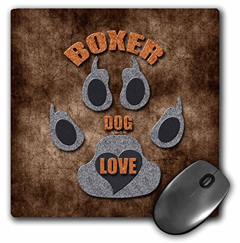 3dRose Doreen Erhardt Dog Breed Collection - Boxer Dog Love Dog Breed in Gray and Brown - MousePad (mp_22042_1)