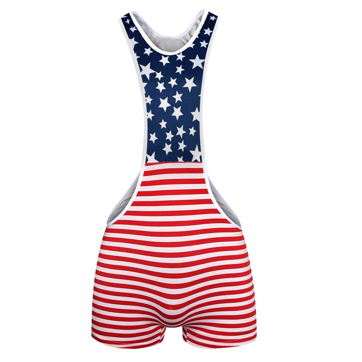 Men's Jockstrap Leotard Underwear Mens Amercian Flag Jumpsuits Wrestling Singlet Athletic Supporters
