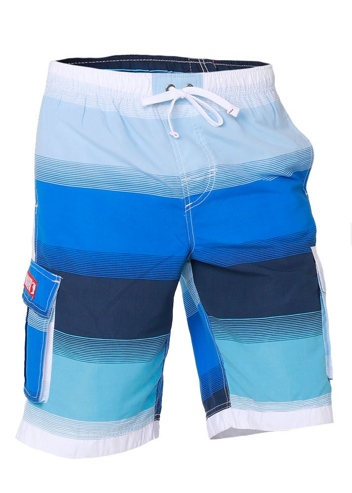 e267e1fdbf Boys Quick Dry Swim Trunks Cargo Water Shorts with Mesh Lining (Blues  Stripes, 2T)