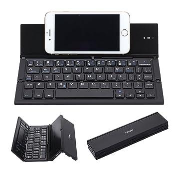Teclado Bluetooth Plegable, Geyes Portátil Ultra-delgado Teclado Inalámbrico Aleación de Aluminio con Kickstand