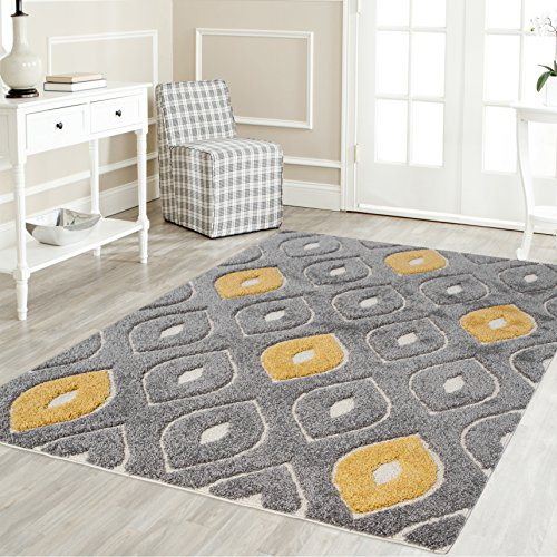 Platinum Shag Area Rugs by Regent home collection, contemporary modern, solid and pattern, soft, plush, designer rugs for living room/dining room /bedroom, 5x8, Gray and Yellow color