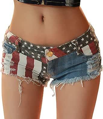 chouyatou Women's Low-Rise American Flag Print Daisy Duke Ripped Denim Shorts