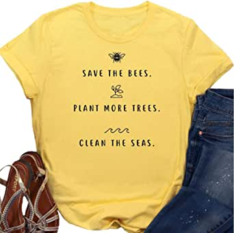 Help More Bees Plant More Trees Clean The Seas Shirt Women Letter Printed Funny Saying T-Shirt