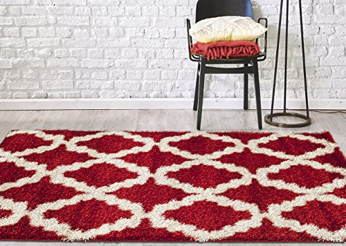 Adgo Infinity Shaggy Collection Moroccan Mediterranean Trellis Lattice Design Vivid Color High Soft Pile Carpet Thick Plush Bedroom Living Dining Room Shag Floor Rug, Red White, 5'2