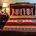 3 Piece Red Brown Yellow Blue Southwest Quilt Cal King Set, Native American Cultural Southwestern Bedding, Tribal Geometric Motifs Pattern, Indian Aztec South West Themed Aztec Western Desert Colors