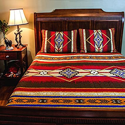 Charmant 3 Piece Red Brown Yellow Blue Southwest Quilt Cal King Set, Native American  Cultural Southwestern