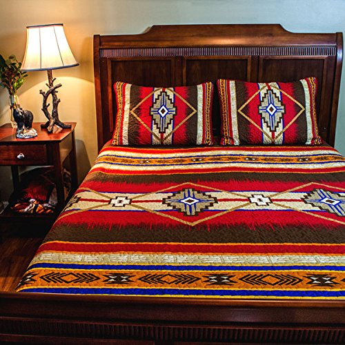 3 Piece Red Brown Yellow Blue Southwest Quilt Full Queen Set, Native American Cultural Southwestern Bedding, Tribal Geometric Motifs Pattern, Indian Aztec South West Themed Aztec Western Desert Colors