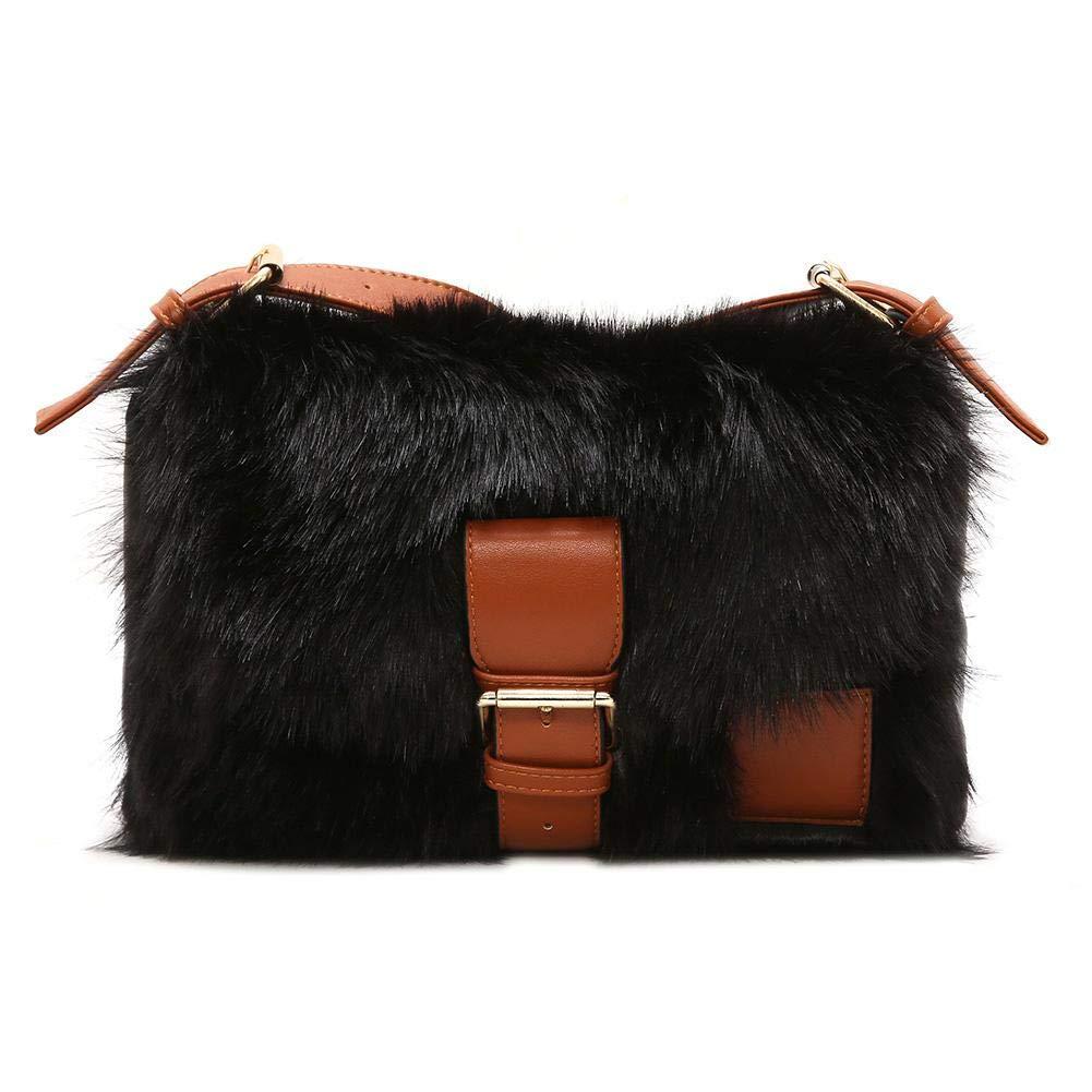 a0d17f5eb7 Amazon.com  Amazingdeal Winter Women Faux Fur Messenger Shoulder Bags  Leather Crossbody Bag (Black)  Clothing