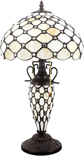 Tiffany Table Lamp W12H22 Inch Stained Glass Crystal Pear Bead Lampshade Antique Night Light Base S005 WERFACTORY Lamps Lover Girlfriend Living Room Bedroom Bedside Coffee Table Study Office Art Gift
