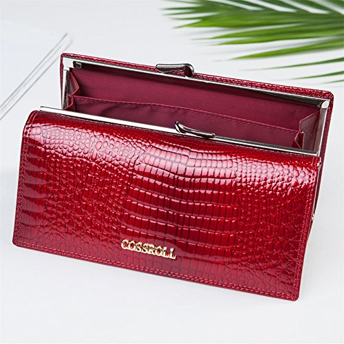 Leather Wallets for women Crocodile Grain Purse Luxury Genuine Leather Cluth Wallet Ladies Bag by COSSROLL (Image #4)
